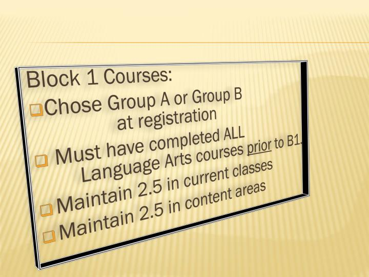 Block 1 Courses: