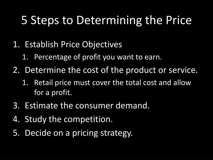 5 Steps to Determining the Price