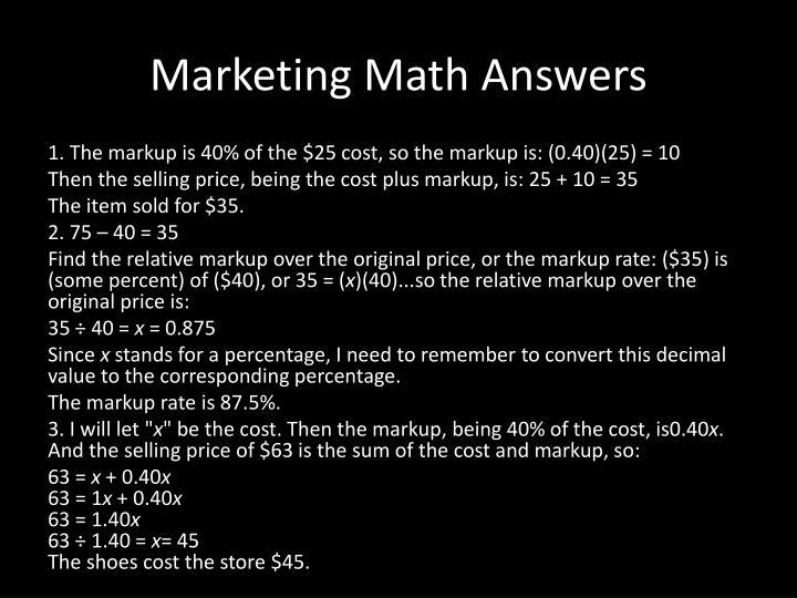 Marketing Math Answers