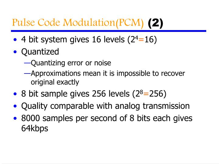 Pulse Code Modulation(PCM)
