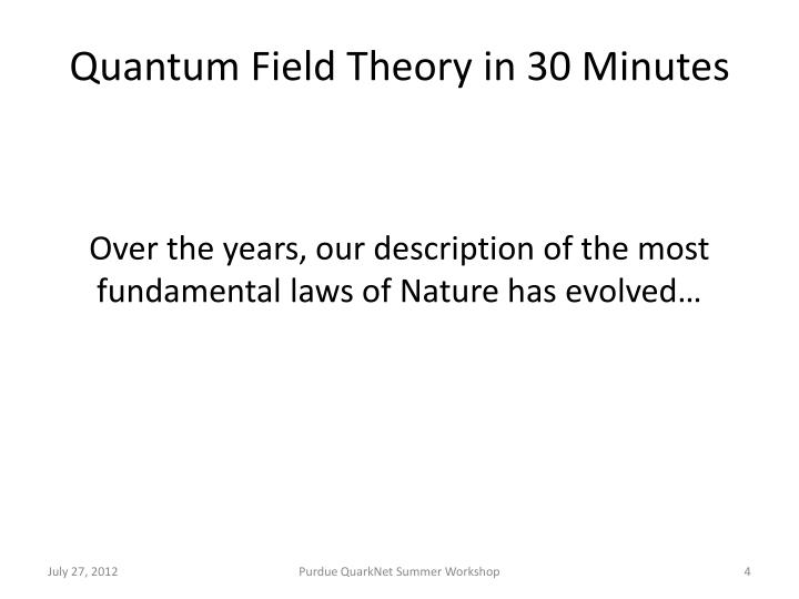 Quantum Field Theory in
