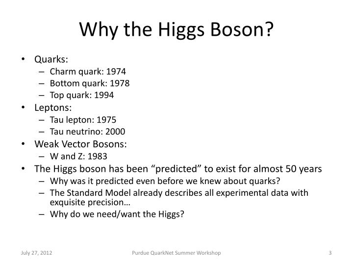 Why the higgs boson