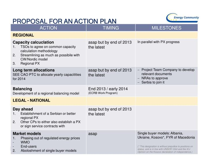 PROPOSAL FOR AN ACTION PLAN