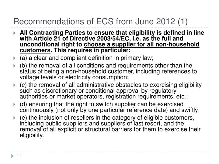 Recommendations of ECS from June 2012 (1)