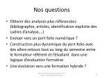 nos questions