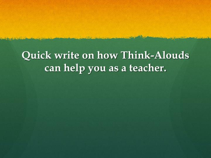 Quick write on how Think-