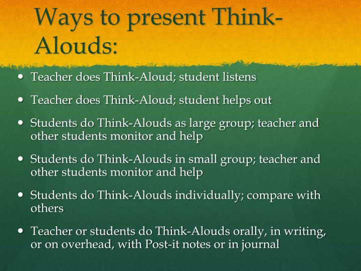 Ways to present Think-