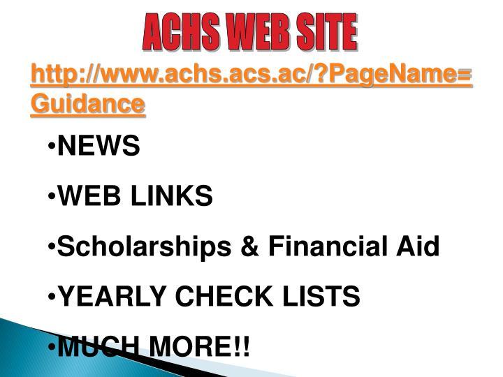 ACHS WEB SITE