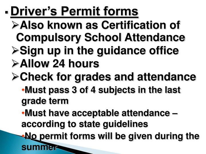 Driver's Permit forms