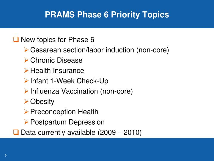 PRAMS Phase 6 Priority Topics