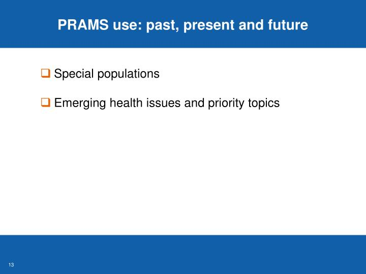 PRAMS use: past, present and future