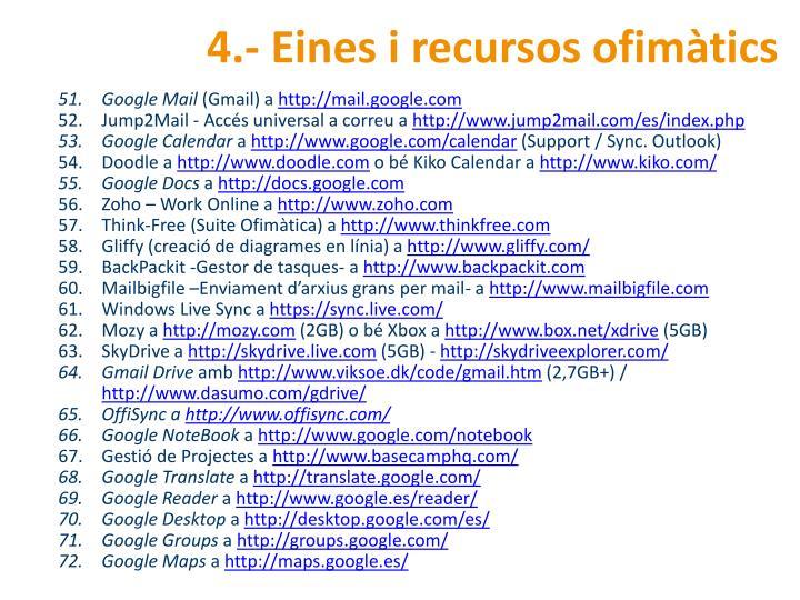 4.- Eines i recursos