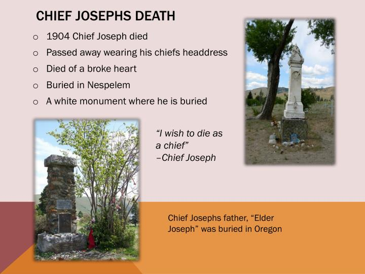 Chief Josephs death