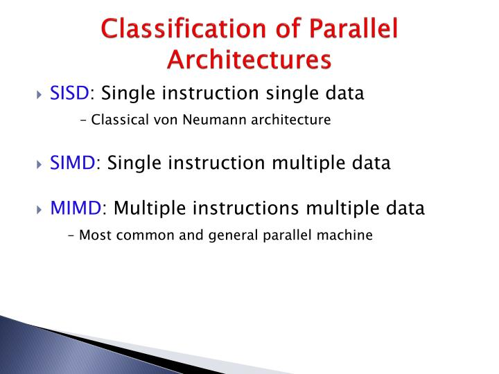 Classification of Parallel Architectures