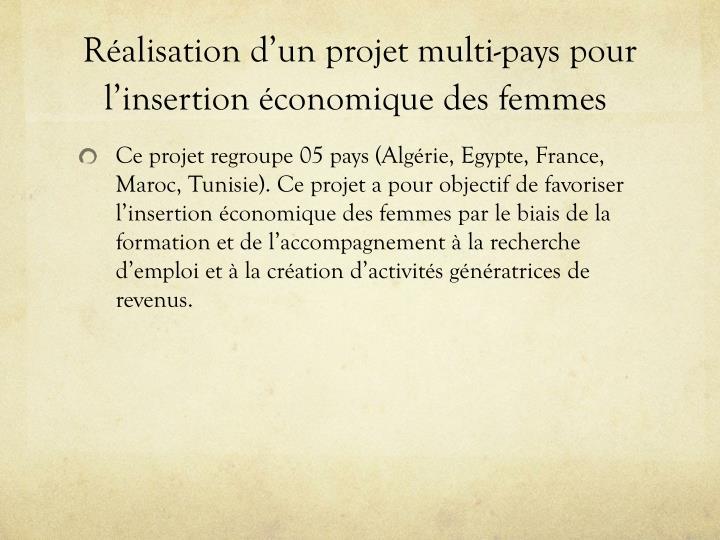 Réalisation d'un projet multi-pays pour l'insertion économique des femmes