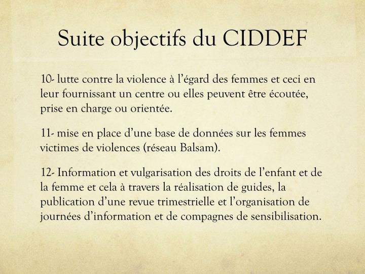 Suite objectifs du CIDDEF
