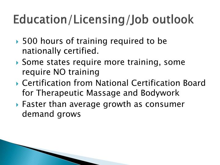 Education/Licensing/Job outlook