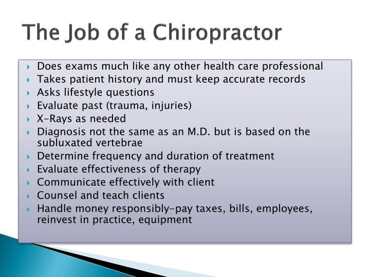 The Job of a Chiropractor