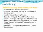 forefront security for sharepoing sp1 available aug