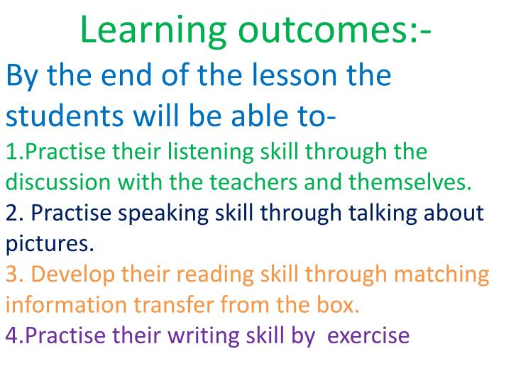 Learning outcomes:-