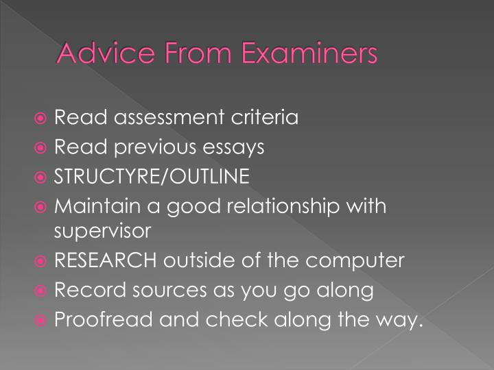 Advice From Examiners
