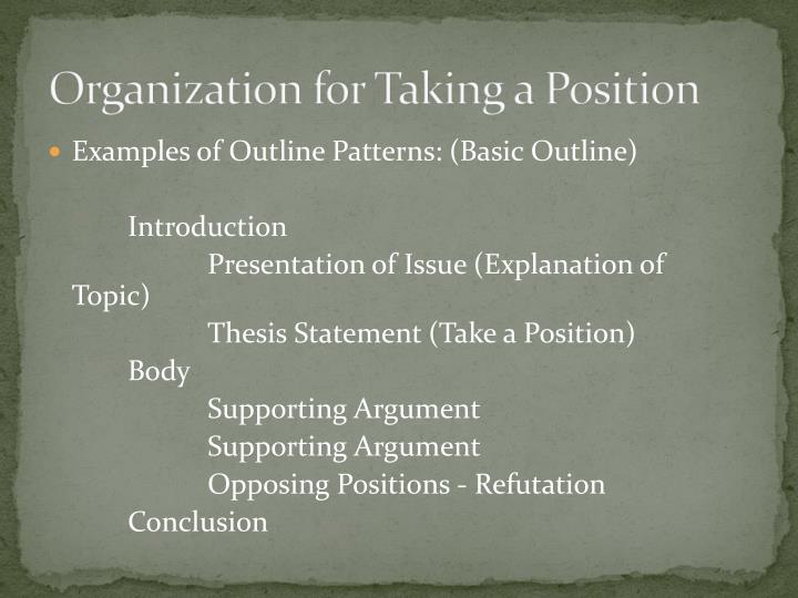 essay outline position taking Writing a position paper requires taking one side of an argument, gathering all of the facts about the topic and developing a standard format essay.