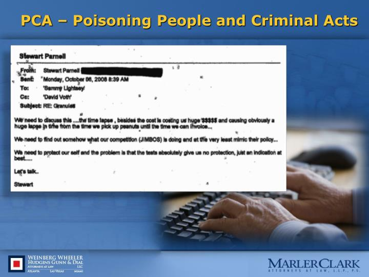 Pca poisoning people and criminal acts