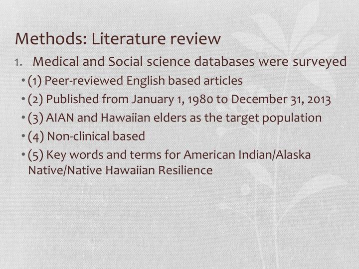 Methods: Literature review