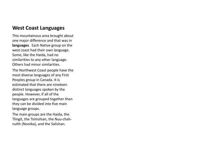 West Coast Languages