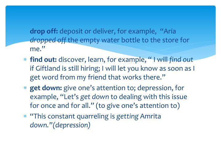 drop off: