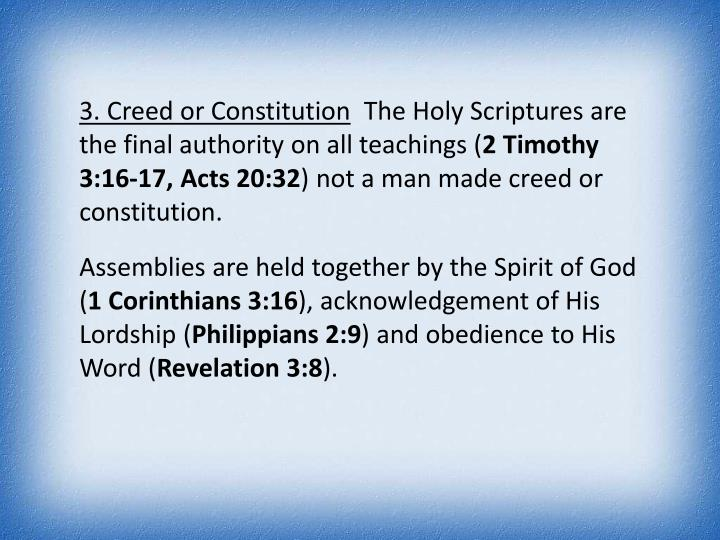 3. Creed or Constitution