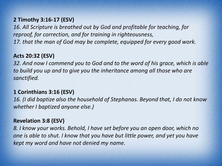 2 Timothy 3:16-17 (