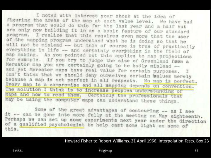 Howard Fisher to Robert Williams. 21 April 1966. Interpolation Tests. Box 23