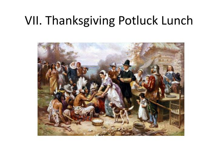VII. Thanksgiving Potluck Lunch