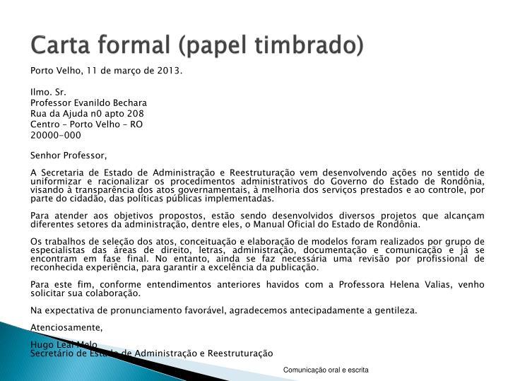 Carta formal (papel timbrado)