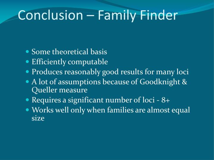 Conclusion – Family Finder