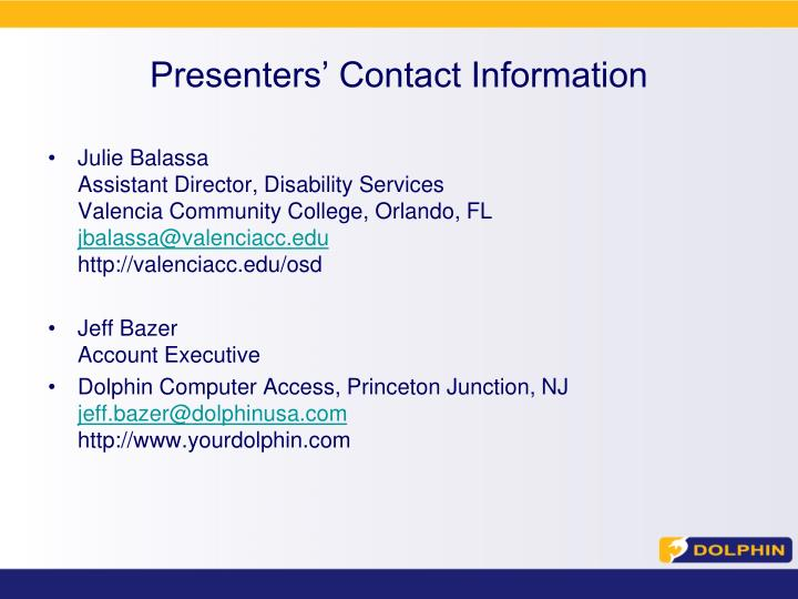 Presenters' Contact Information