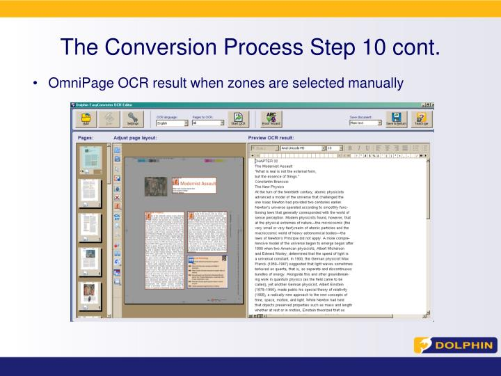 The Conversion Process Step 10 cont.