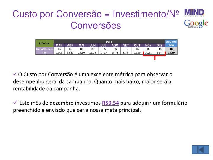Custo por Conversão = Investimento/Nº Conversões