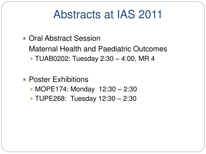 Abstracts at ias 2011