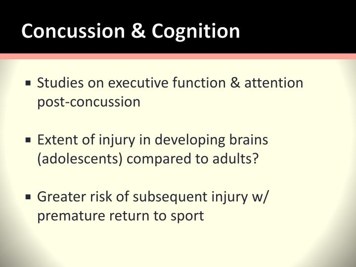 Concussion cognition