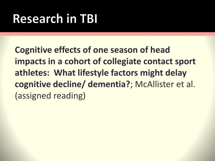 Research in TBI