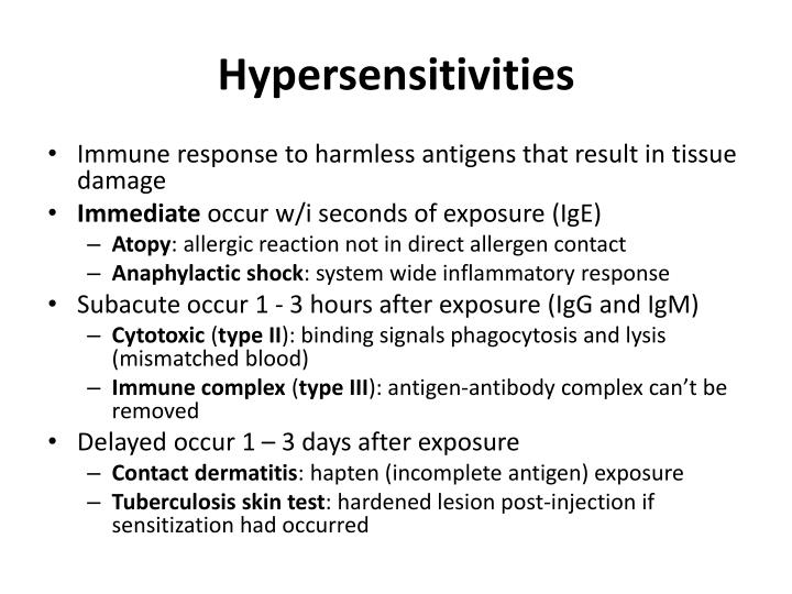 Hypersensitivities