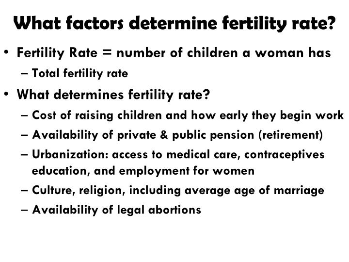 What factors determine fertility rate?