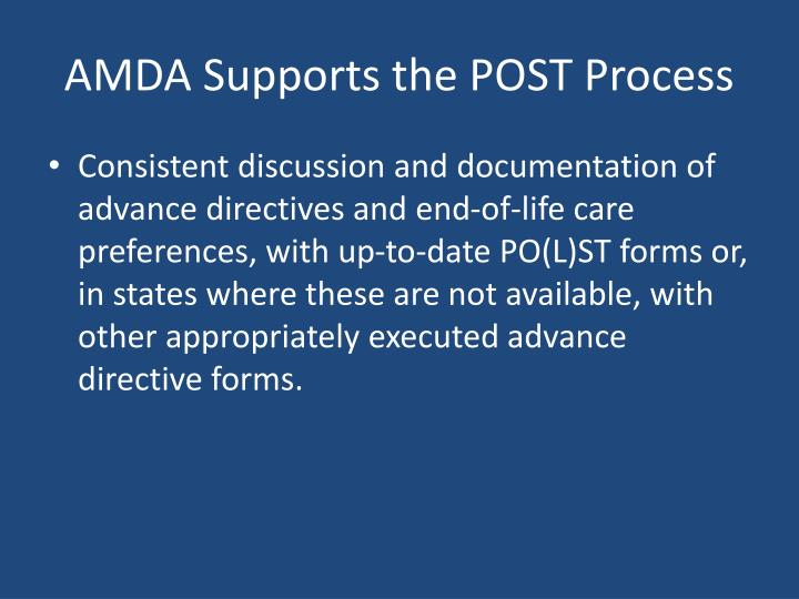 AMDA Supports the POST Process