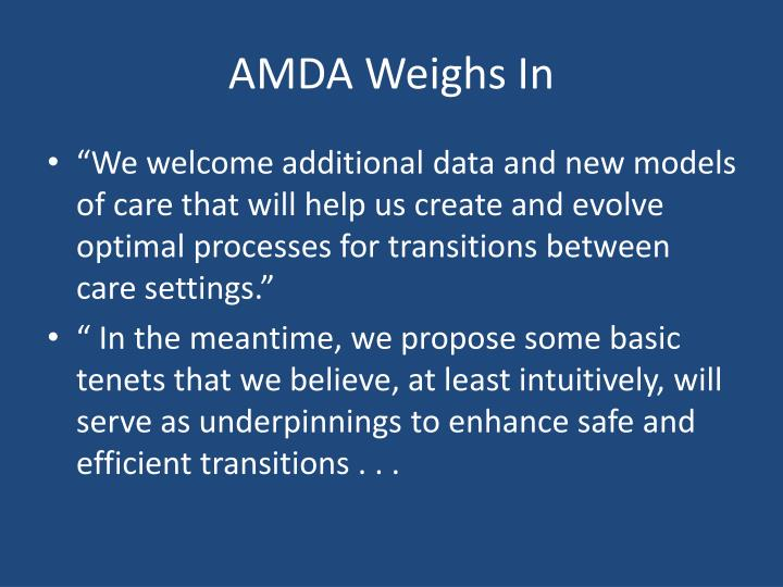 AMDA Weighs In