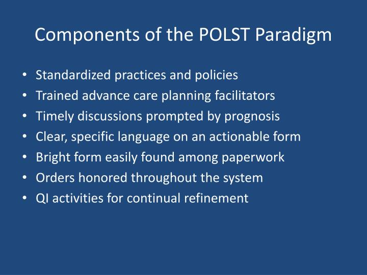 Components of the POLST Paradigm