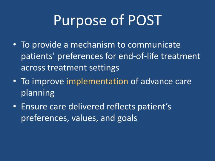 Purpose of POST