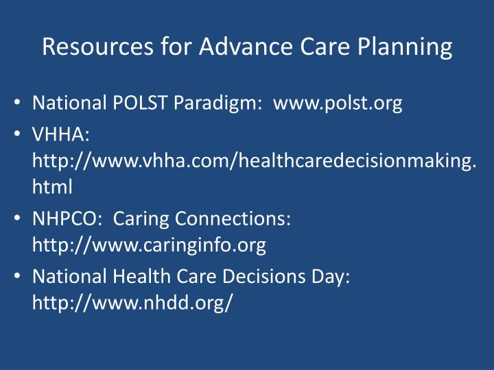 Resources for Advance Care Planning