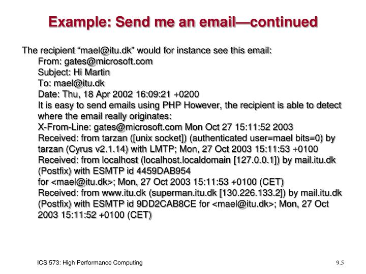 Example: Send me an email—continued